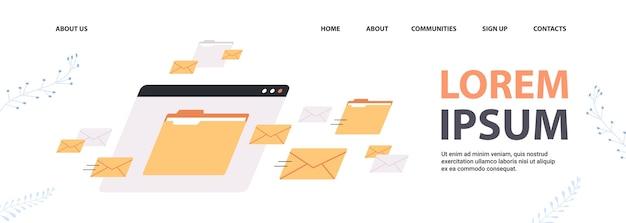 Foldery poczta koperty chmura internet plik danych ikona dokumenty okno przeglądarki kopia przestrzeń pozioma ilustracji wektorowych