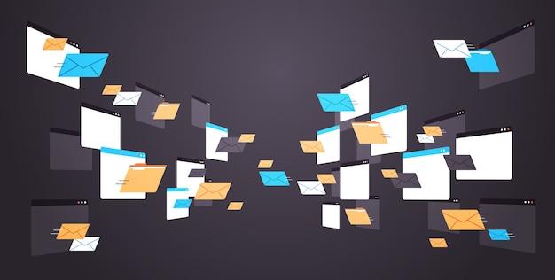 Foldery poczta koperty chmura internet plik danych ikona dokumenty okno przeglądarki poziome ilustracji wektorowych