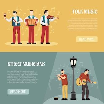 Folk and street musicians horizontal banners