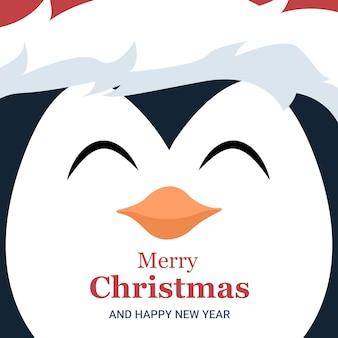 Folleto tarjeta navidad de cara de pingüino