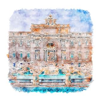 Fontanna di trevi roma włochy szkic akwarela ręcznie rysowane ilustracji