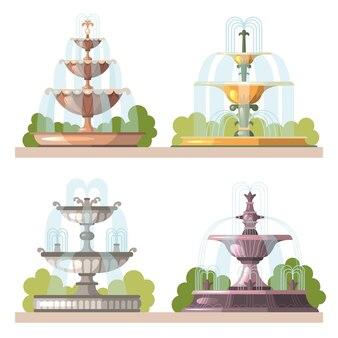 Fontanny. konstrukcje ozdobne urody wody do ogrodów na zewnątrz parku ilustracje wektorowe kreskówek. kolekcja strumienia wodospadu do dekoracji parku