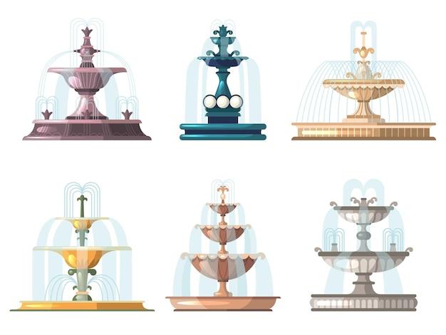 Fontanny z kreskówek. odkryty ogrodnictwo dekoracyjne symbole natura wody fontanny wektor zbiory. parkowa fontanna na świeżym powietrzu, kolekcja dekoracyjnych ilustracji krajobrazu miasta