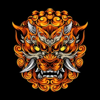 Foo dog head ilustracja mitologia premium vector art