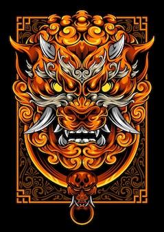 Foo dog ilustracja z ornamentem premium vector art