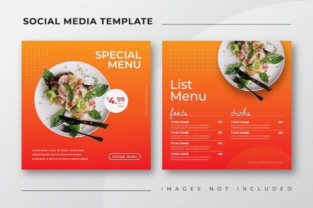 Food instagram post szablon mediów społecznościowych dla menu restauracji kulinarnej