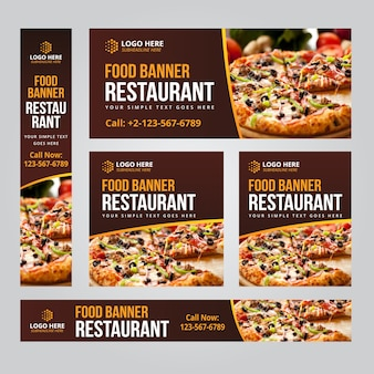 Food restaurant business web banner set szablony wektorowe