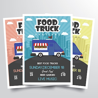 Food truck festiwal ulotki szablon wektor