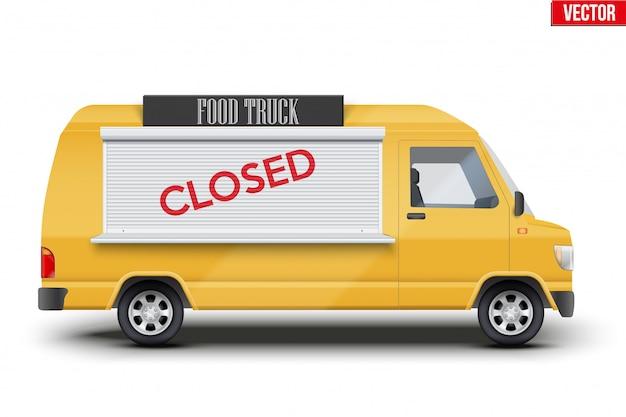 Food truck trailer jest zamknięty