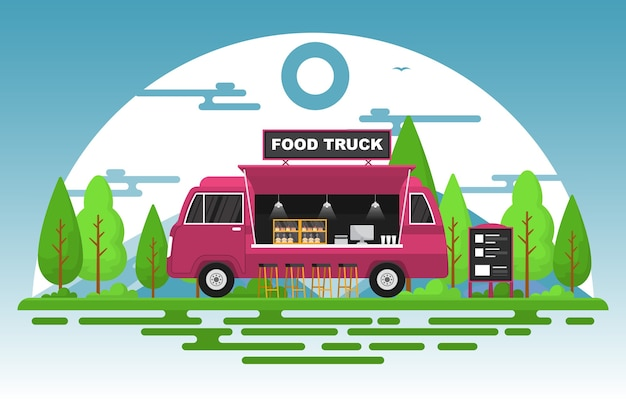Food truck van samochód pojazd street shop park ilustracja