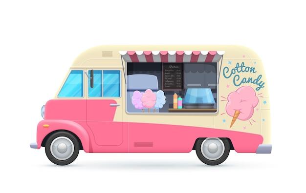 Food truck z waty cukrowej, furgonetka na białym tle, samochód rysunkowy do sprzedaży deserów ulicznych.