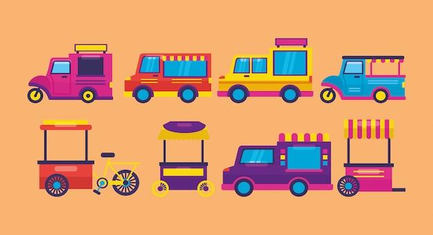 Food trucki w stylu płaski