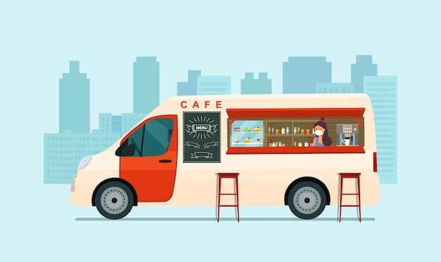 Foodtrack van ze sprzedawcą w masce medycznej na białym tle. kawiarnia na kółkach. ilustracja.