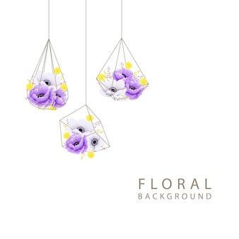 Foral tło z anemonem maku i kwiatem craspedia w geometrycznym terrarium