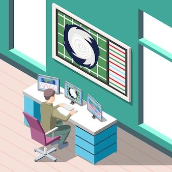 Forecaster pogody w miejscu pracy podczas badań warunków klimatycznych izometryczny tło z elementami wewnętrznymi