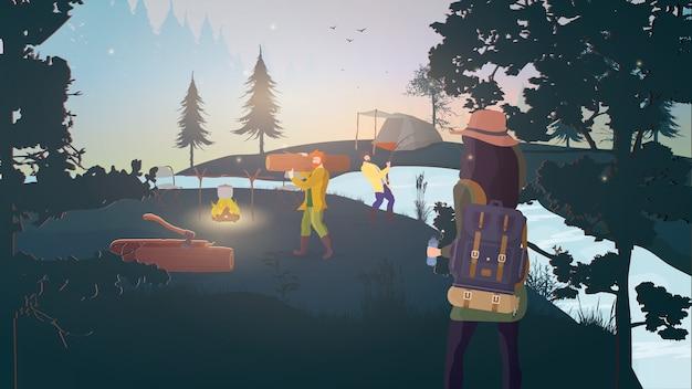Forest camp. odpocznij w lesie z namiotami.