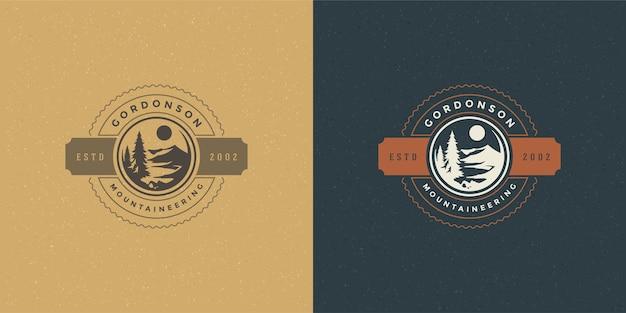 Forest camping logo emblemat zestaw ilustracji wędrówki na świeżym powietrzu