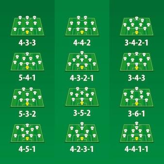Formacja drużyny piłkarskiej na zielonym boisku, 12 różnych wersji.