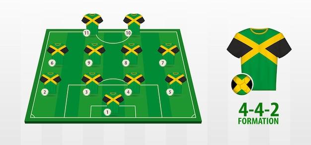 Formacja reprezentacji jamajki w piłce nożnej na boisku.