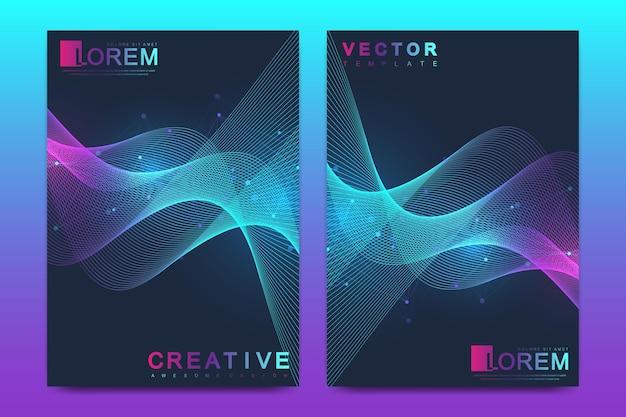 Format a4 biznesowy projekt naukowy i technologiczny z kolorowymi dynamicznymi falami