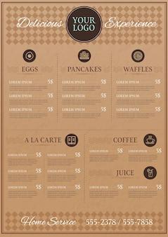 Format pionowy menu cyfrowego restauracji