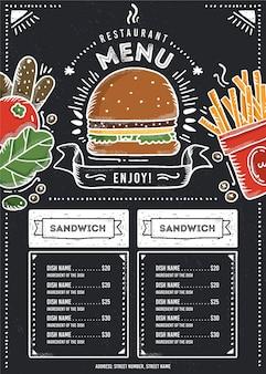 Format pionowy menu restauracji fast food