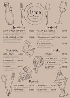 Format pionowy projektowania menu restauracji