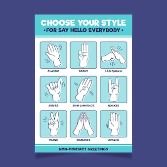 Format plakatu z bezkontaktowymi przykładami powitania