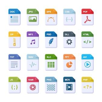 Format pliku - realistyczny zestaw ikon. ilustracja 3d.