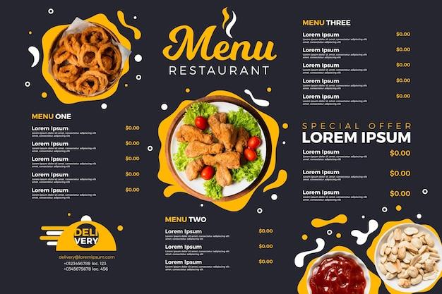Format poziomy menu cyfrowej restauracji