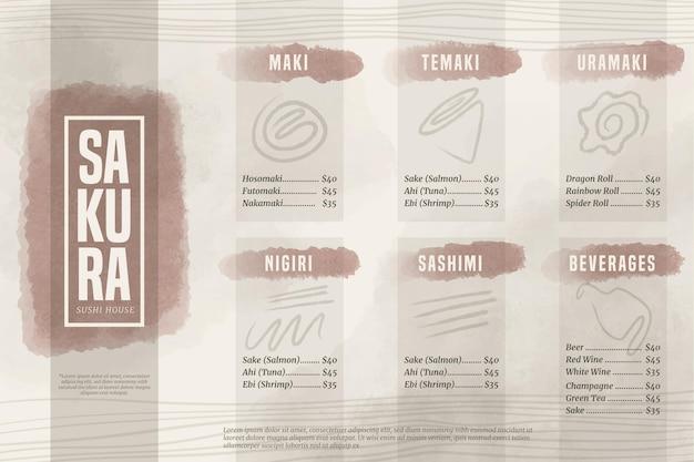 Format poziomy menu domu sushi