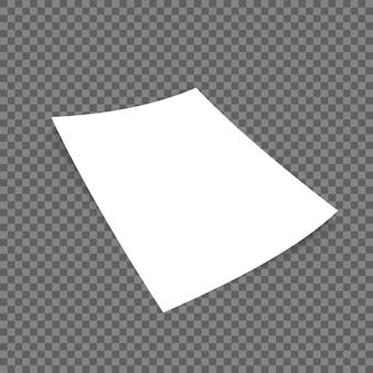 Formatuj papier z cieniami na przezroczystym tle.