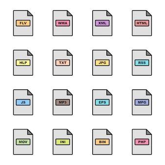 Formaty plików zestaw ikon
