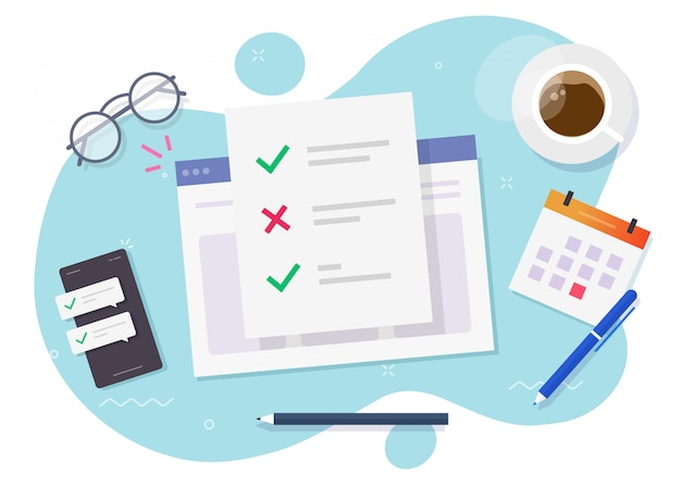 Formularz ankiety internetowy dokument z listą kontrolną na temat miejsca pracy do nauki