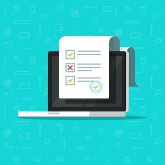 Formularz ankiety online lub dokument z egzaminem testowym na komputerze przenośnym