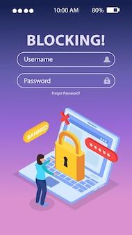 Formularz internetowy. izometryczna kompozycja ilustracji blokującej internet z laptopem zakazanego użytkownika z blokadą na ekranie mobilnym logowania