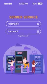 Formularz logowania i naprawa problemów administratorów systemu w serwerowni