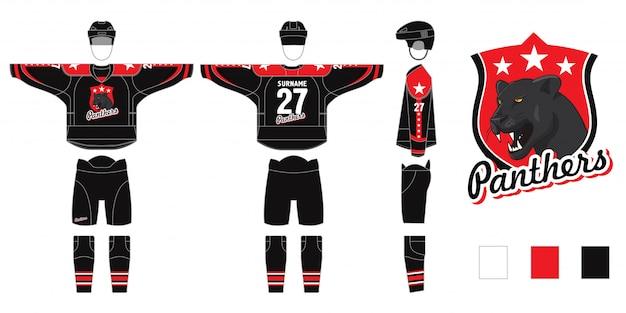 Formularz na lodzie na białym tle. strój hokejowy z logo panter - wykrój do szycia - sweter i getry hokejowe, getry