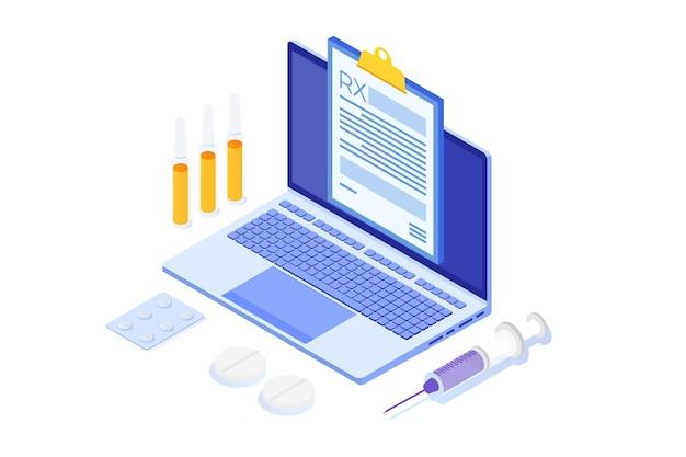 Formularz recept rx na podkładce schowka na laptopie. koncepcja kliniki online.