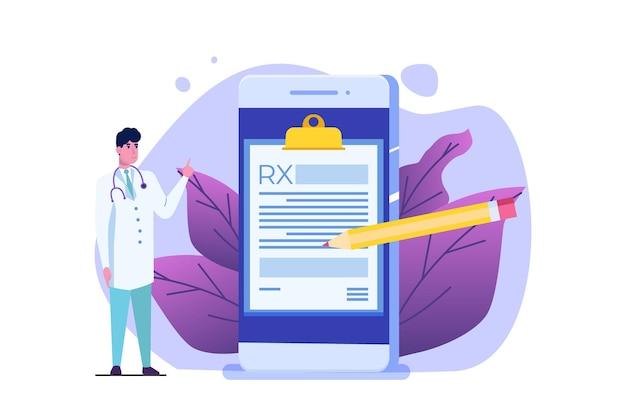 Formularz recepty rx postaci lekarza. koncepcja kliniki online.