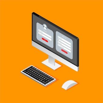 Formularz rejestracyjny i strona formularza logowania na izometrycznym wyświetlaczu komputera.