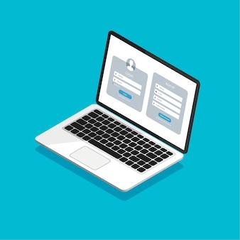 Formularz rejestracyjny i strona formularza logowania na izometrycznym wyświetlaczu laptopa.