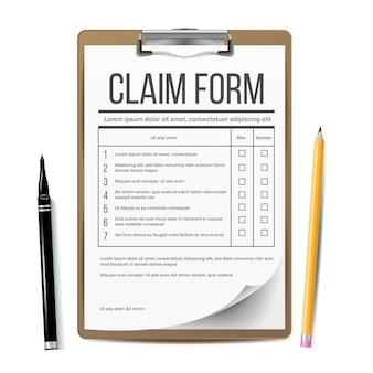 Formularz roszczenia. dokument biznesowy.