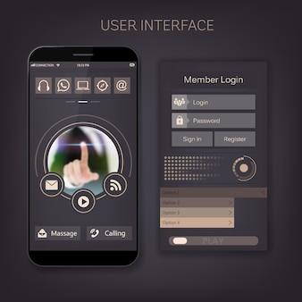 Formularz użytkownika mobilnego webowego interfejsu użytkownika, interfejs menu.