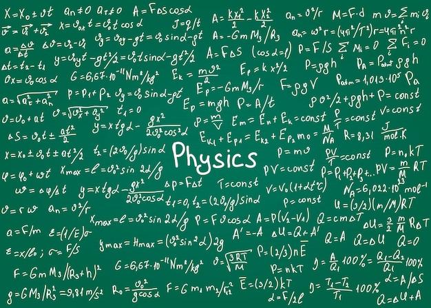 Formuły fizyki rysowane ręcznie na zielonej tablicy na tle. ilustracja.