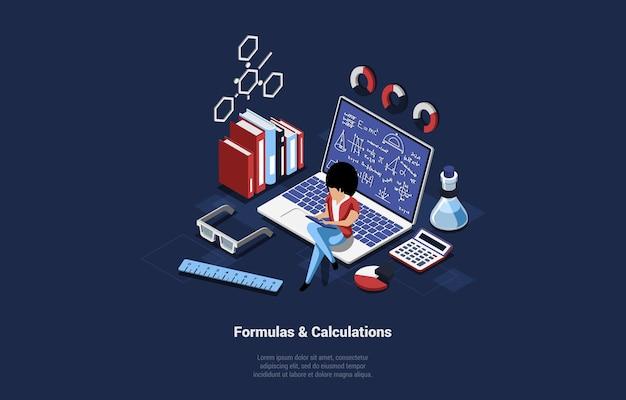 Formuły i obliczenia koncepcja ilustracja w stylu cartoon 3d. kobieta siedzi na laptopie z tekstem na ekranie