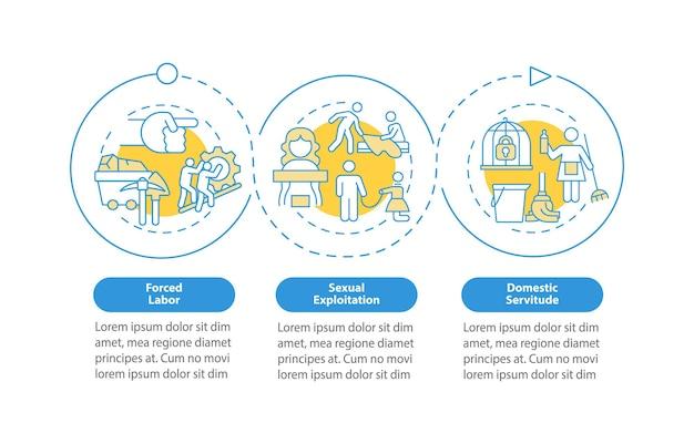Formy niewolnictwa ludzkiego wektor infographic szablon. prezentacja pracy przymusowej zarys elementów projektu. wizualizacja danych w 3 krokach. wykres informacyjny osi czasu procesu. układ przepływu pracy z ikonami linii
