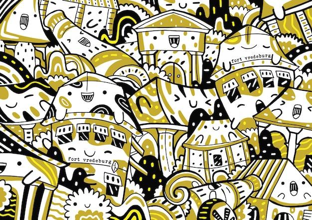 Fort vredeburg doodle w stylu płaskiej konstrukcji