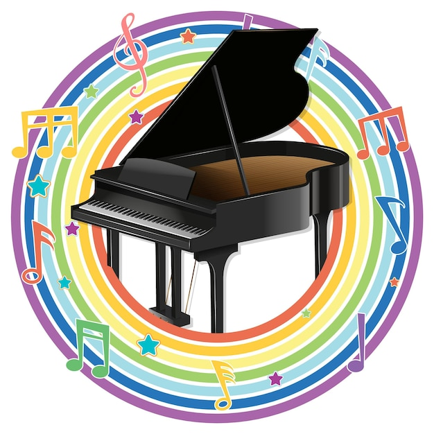 Fortepian w tęczowej okrągłej ramie z symbolami melodii