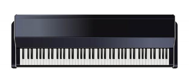 Fortepian z klawiaturą czarno-biały.